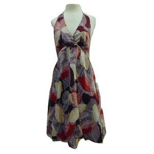 BCBGMaxAria cotton leaf print halter summer dress